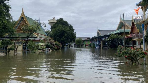 Flood woes caused by dam overflow in Suphan Buri province